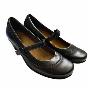 NAOT Women's Black Leather Mary Jane Shoes